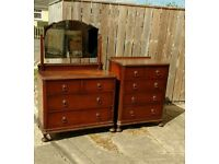 1920s - 1930s solid oak chest of drawers and dressing table