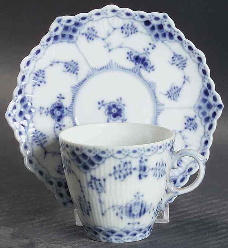 Royal Copenhagen BLUE FLUTED FULL LACE Demitasse Cup & Saucer S7003623G2