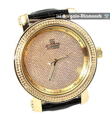 mens gold diamond sand business clubbing watch ice out black leather Master