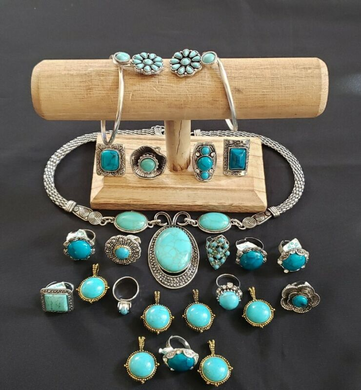 Lot of faux turquoise rings bracelets pendants necklace