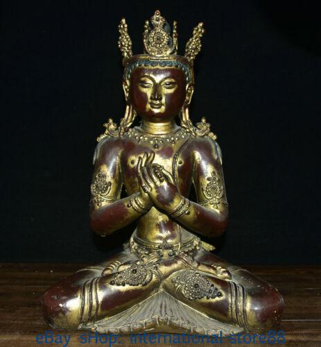 "15.2"" Marked Old Tibet Red Copper Buddhism Amitayus Buddha of Longevity Statue"