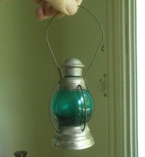 1890s SWEET BYE & BYE PERFUME LABELED TEAL GLASS LANTERN BOTTLE ALL ORIGINAL