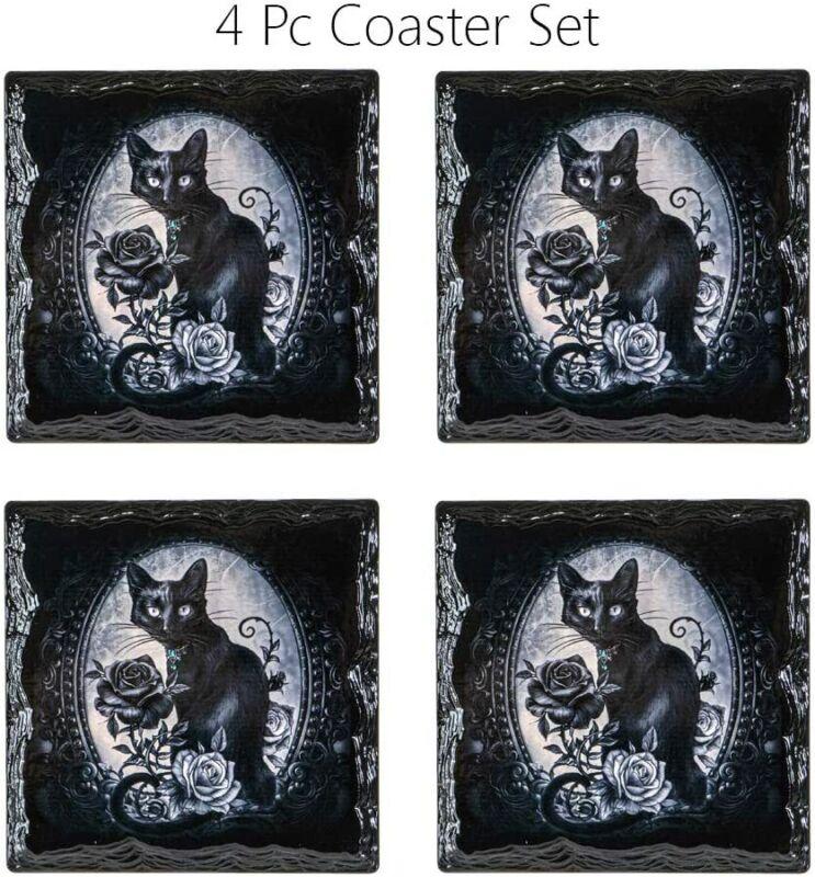 Black Cat Roses Slate Ceramic Coaster with Cork Backing Set of 4