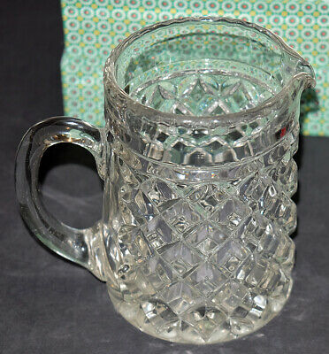 Vintage Pressed Glass Pitcher--near Mint Condition