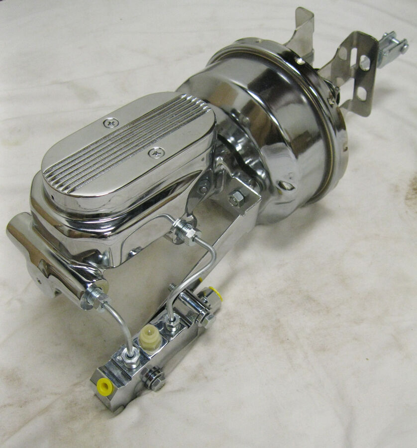 """1955 56 57 Chevy 7/"""" Dual Power Booster Bail Top Master /& Bracket Kit ALL CHROME"""