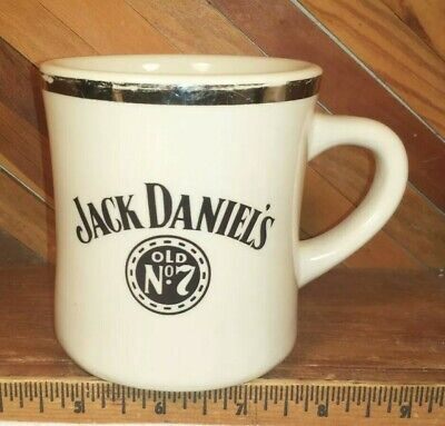Jack Daniels Mug Cup - Silver Rim Heavy Restaurant Style Coffee Cup for sale  Shipping to Canada