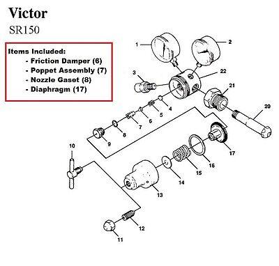 Victor Firepower Sr150 Oxygen Regulator Rebuildrepair Parts Kit W Diaphragm