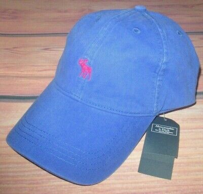 MENS ABERCROMBIE & FITCH MOOSE BLUE ADJUSTABLE DISTRESSED HAT CAP ONE SIZE