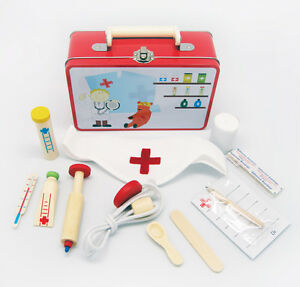 Wooden Doctor Nurse Pretend Role Play Set/Kit Educational Toy (Medical)Tin Case