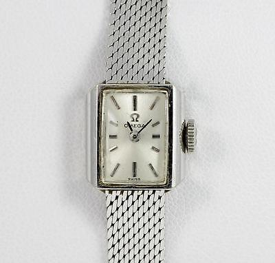 Vintage Omega Solid 14K White Gold Ladies Winding Watch roger