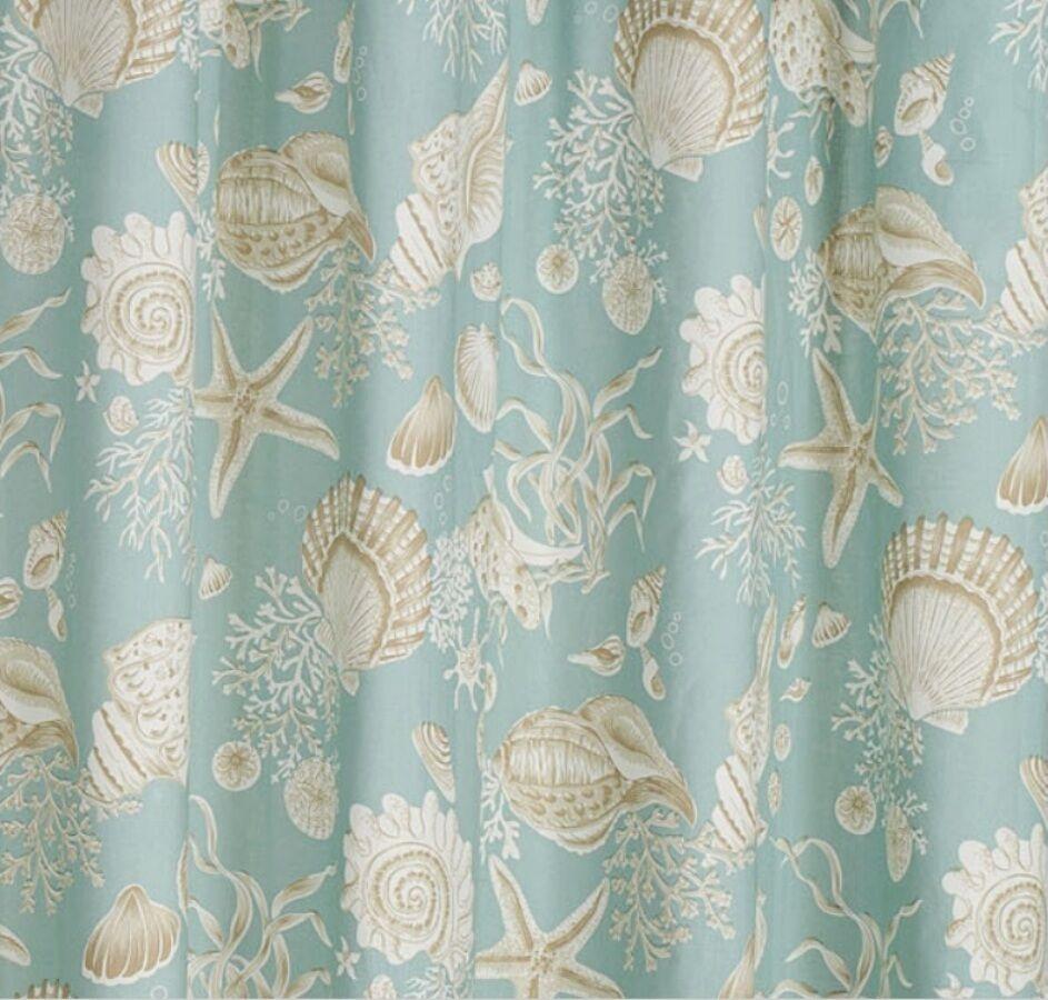 Yellow Print Shower Curtain Natural Beach Decor