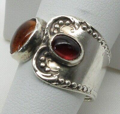 925 STERLING SILVER GARNET/HONEY CITRINE BALI Style Artisan Ring (SIZE: 8.25)