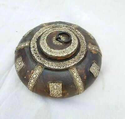 Vintage Old Antique Nice Brass Fitted Fine Embossed Wooden Opium Box / Ash tray