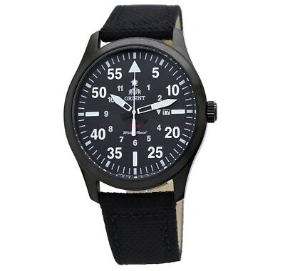 Orient Flight Black Dial Leather Canvas Men's Watch FUNG2003B0