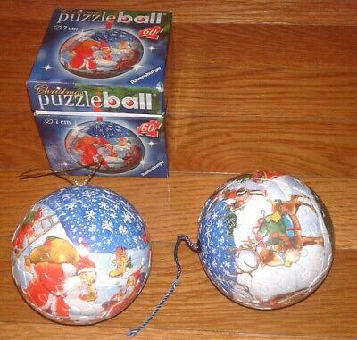 (2) Ravensburger 60 piece Puzzle Ball Christmas Ornaments - excellent condition ()