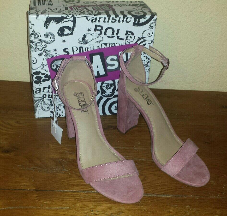 "BRASH WW Houston 4"" Block Heel Sandal Adjustable Ankle Strap Size 8W New in Box"