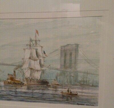 Watercolor Harbor - Listed artist Frederick Tordoff (1938 New York harbor Brooklyn bridge watercolor