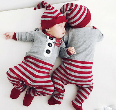 Christmas Newborn Baby Boys Girl Xmas Romper Jumpsuit Hat Striped Outfit Clothes