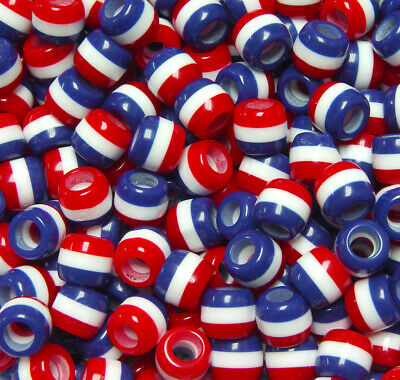JOLLY STORE Crafts Patriotic Red White Blue Stripes 11x10mm Pony Hair Fun Beads](Crafting Stores)