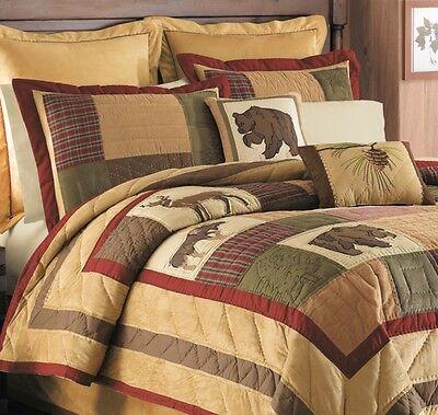 BIG SKY 7pc Queen QUILT SET : LODGE CABIN MOUNTAIN BEAR DEER MOOSE BED COMFORTER
