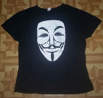 T-Shirt V For Vendetta Guy Fawkes Mask Anonymous ADULT LARGE Fruit of the Loom - The Guy Fawkes Mask