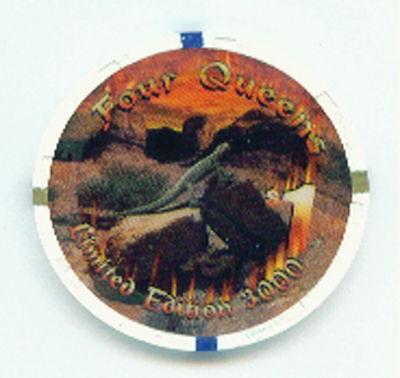 Casino Desert Scene ($1 FOUR QUEENS JULY 2000 CHIP LIZARD ON ROCK REPTILE DESERT)