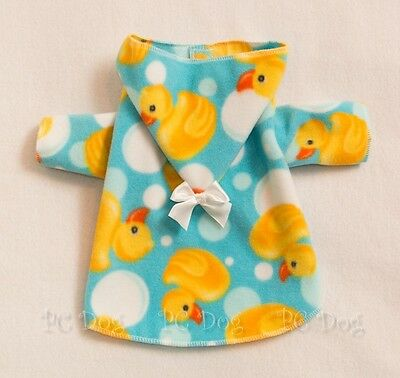 S New Ducky Fleece Hooded Dog Bathrobe clothes Pet Clothing Robe Small