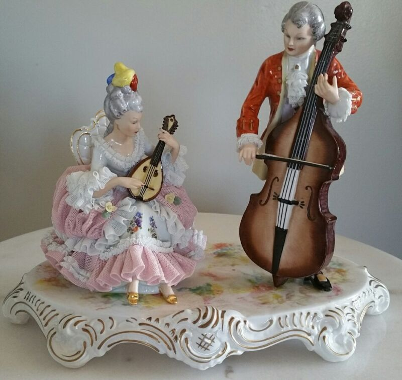 """Antique Dresden Porcelain Victorian Couple Playing Musical Instruments Lace 11"""""""