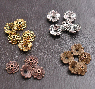 100Pcs 8mm Flower Bead Caps Floral Spacer Beads 8MM DIY Tibetan Silver Alloy - Floral Beads