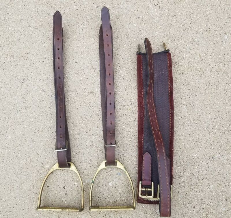 Vintage English Brass Stirrups & Leather Straps Very Good Condition