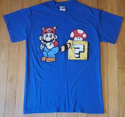Super Mario Bros 3 Tshirt blue mushroom Nintendo video game (Mario Racoon)
