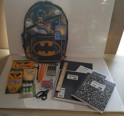 Batman Backpack with Lunch Bag & Back to School Supplies - 16+ pieces (Batman School Supplies)