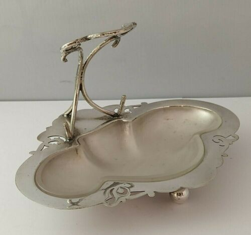 Art Nouveau Silver Plated Dish With Glass Liner