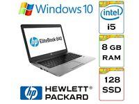 VERY QUICK - HP Elitebook 840 i5 8gb Ram 128gb Solid State Drive Windows 10 Pro Laptop Ultrabook.