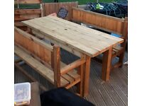Hand made to order Rustic Table and bench set