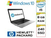 VERY QUICK - HP Elitebook 840 i5 8gb Ram 240gb Solid State Drive Windows 10 Pro Laptop / Ultrabook
