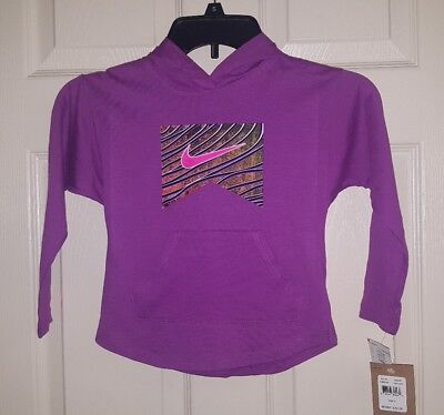 Nike Girls Purple Hooded L/S Graphic Tee Shirt W/ Front Pocket Size 5 Years ()
