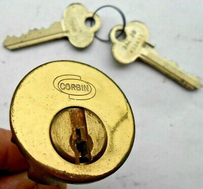 Nos Vintage Corbin  Rim Cylinder With 2  Keys  Locksmith Collectors