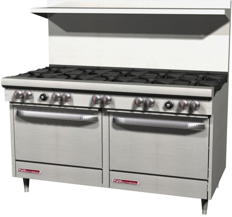 "Southbend S60dd S-series 60"" Gas 10-burner Restaurant Range 2 Std Ovens"