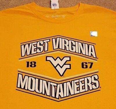- WVU West Virginia Mountaineers Football Basketball T-Shirt Yellow Mens Small S