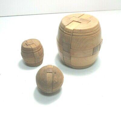 3 X VINTAGE WOODEN PUZZLE BALL BARRELS