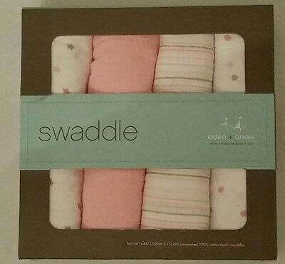 New Aden & Anais 4 Pack Swaddle Blankets Pink