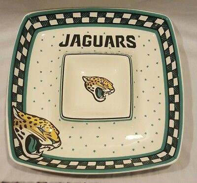 NEW THE MEMORY COMPANY JAGUARS NFL FOOTBALL GAMEDAY CERAMIC CHIP & DIP PLATE Game Day Ceramic Chip