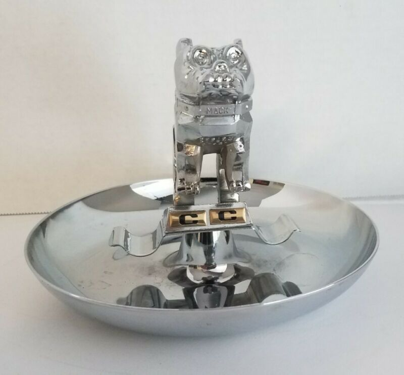 VINTAGE MACK BULL DOG CHROME CIGAR ASH TRAY TRUCK HOOD ORNAMENT ORIGINAL BOX