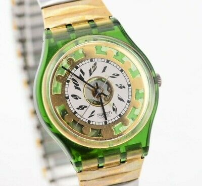 H415 Vintage Green Gold White Swatch Quartz Watch Original Swiss Made 90.1
