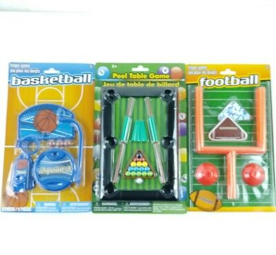 Lot Of 3 Desk Top Sports Toy Games Football Basketball Pool Office Novelty Gift