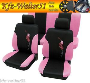 renault scenic ii twingo housse de si ge fleur noir rose vif rose ebay. Black Bedroom Furniture Sets. Home Design Ideas