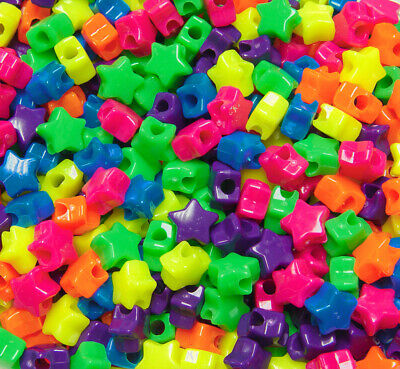 JOLLY STORE Crafts Neon Multi Colors Star Pony Beads 100pc Made in USA](Plastic Star Beads)