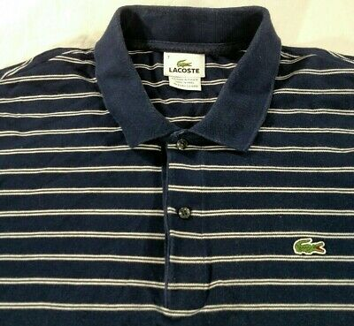 Lacoste 5191L Navy Blue Stripe Polo Shirt Short Sleeve Mens Size 7 XL Cotton