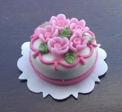 Dollhouse Miniature Pink Rose Cake by Bright deLights any occasion 1;12 scale